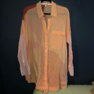 Oversized free people blouse button up